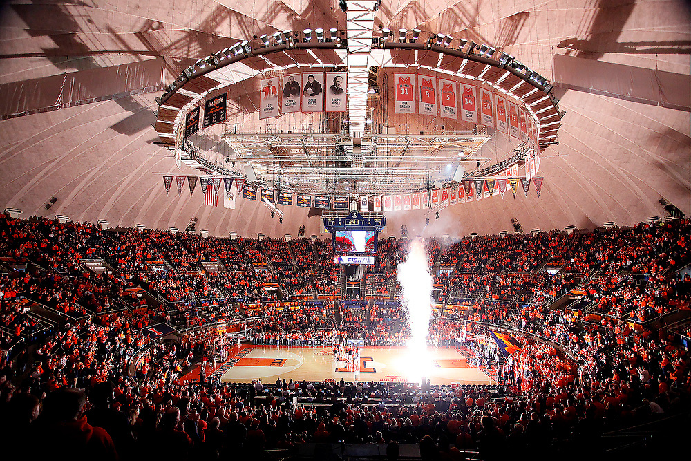Fireworks light up the arena before the start of an NCAA college basketball game at the State Farm Center Sunday, Jan. 18, 2015, on the University of Illinois campus in Champaign, Ill. (For the Herald & Review/ Stephen Haas)