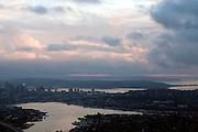 Seattle skies churn over the Seattle skyline.