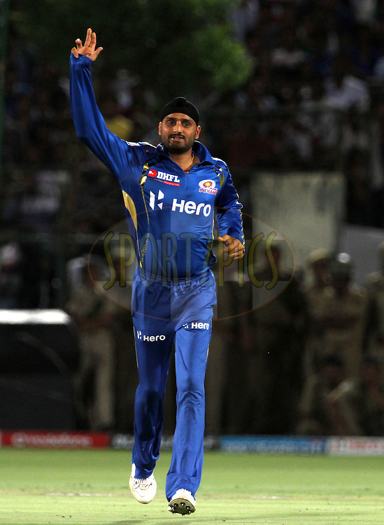 Mumbai Indian captain Harbhajan Singh celebrates during match 72 of the Indian Premier League ( IPL) 2012  between The Rajasthan Royals and the Mumbai Indians  held at the Sawai Mansingh Stadium in Jaipur on the 20th May2012..Photo by Vipin Pawar/IPL/SPORTZPICS