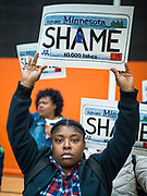 01 MARCH 2020 - ST. LOUIS PARK, MINNESOTA: Black Lives Matter protesters who disrupted a campaign rally for Sen. Amy Klobuchar. Dozens of Black Lives Matter (BLM) protesters disrupted Sen. Amy Klobuchar's last presidential election rally in Minnesota before Super Tuesday. Almost 500 Klobuchar supporters came to hear Sen. Klobuchar, when the BLM protesters marched into the hall and took control of the stage. Klobuchar cancelled the event about an hour after the BLM protesters entered the hall. The protesters targeted Klobuchar because while she was the Hennepin County Attorney, she oversaw the conviction of Myon Burrell, a black teenager accused and convicted of murder. Evidence has come to light since his conviction that suggests he was wrongly convicted. His conviction has become a flashpoint in Minnesota politics.         PHOTO BY JACK KURTZ