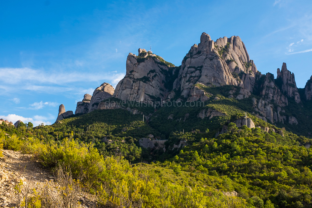 The saw-toothed mountain of Monserrat, near Barcelona, Catalonia, the first national park established in Spain.