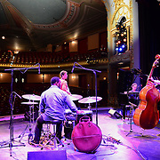 Members of the Terence Blanchard Quintet during their sound check before performing at The Music Hall in Portsmouth, NH. August, 2013. Brice Winston, Sax. Babian Almazan, Keyboards. Joshua Crumbly, Bass. Kendrick Scott, Drums.