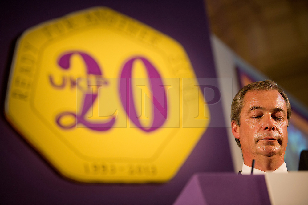 © London News Pictures. 20/09/2013. London, UK. Party leader NIGEL FARAGE delivering his keynote speech  at The UK Independence Party (UKIP) 2013 Annual Conference, held at the Central Hall, Westminster, London.  Photo credit : Ben Cawthra/LNP