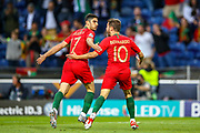 Goal Portugal midfielder Conclamo Guedes (17) scores a goal and celebrates 1-0 during the UEFA Nations League match between Portugal and Netherlands at Estadio do Dragao, Porto, Portugal on 9 June 2019.