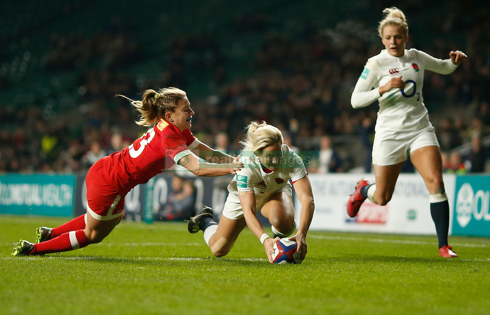 England's Claire Allan scores a try during the Old Mutual Wealth Series match at Twickenham Stadium, London.
