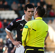 Referee Stephen O'Reilly explains why he disallowed Steven Milne's first half 'goal' to Dundee captain Stephen O'Donnell - Dundee v Kilmarnock, William Hill Scottish FA Cup 4th Round,..- © David Young - .5 Foundry Place - .Monifieth - .DD5 4BB - .Telephone 07765 252616 - .email; davidyoungphoto@gmail.com - .web; www.davidyoungphoto.co.uk.