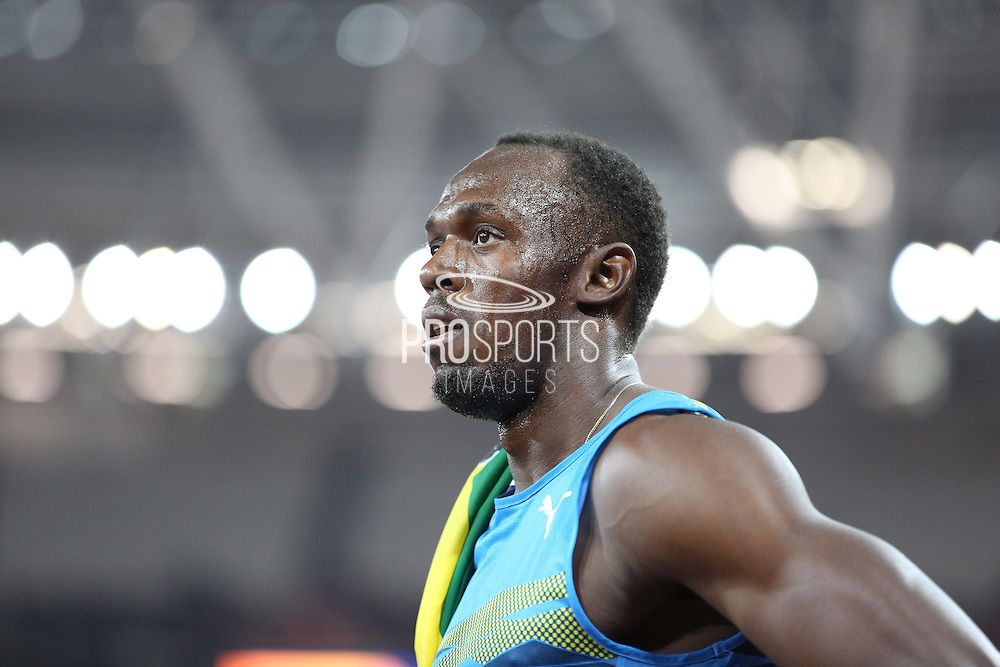 Usain Bolt of Jamaica after wining the 100m during the Sainsbury's Anniversary Games at the Queen Elizabeth II Olympic Park, London, United Kingdom on 24 July 2015. Photo by Phil Duncan.