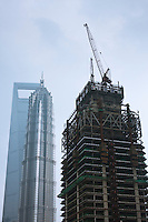skyscraper under construction in Shanghai China