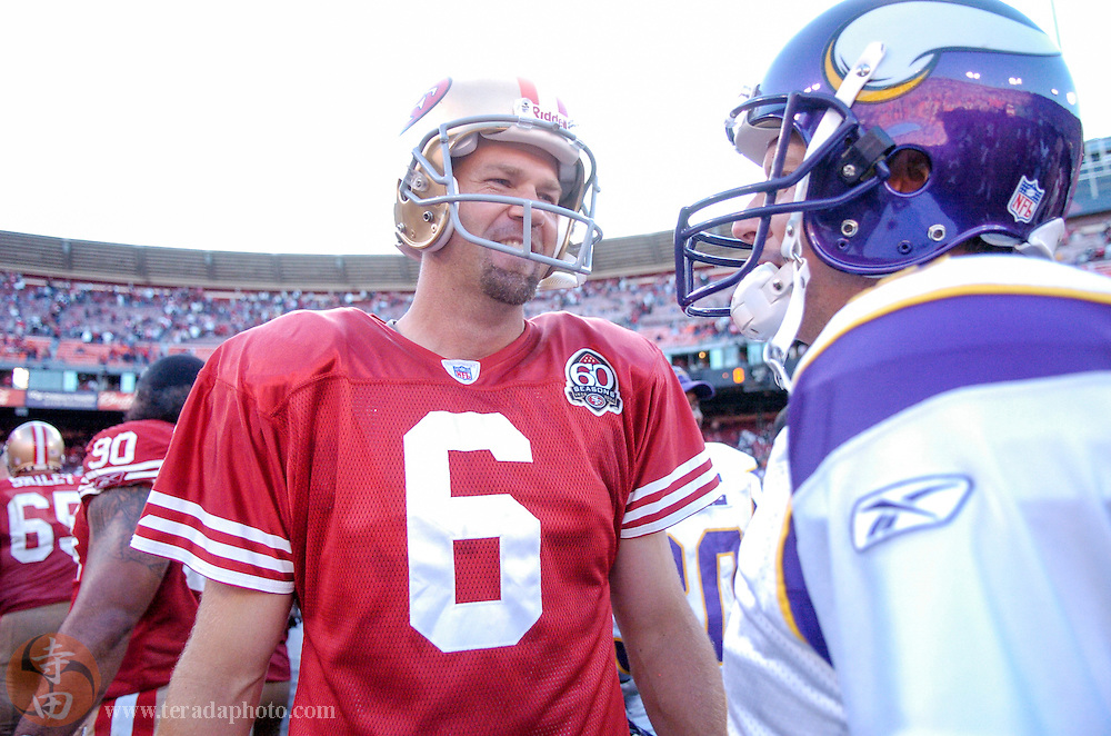 Nov 5, 2006 San Francisco, CA, USA: San Francisco 49ers kicker Joe Nedney (6) talks to Minnesota Vikings kicker Ryan Longwell (8) after the game at Monster Park. The 49ers defeated the Vikings 9-3.