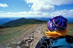 Hiking.  Mt. Moosilauke. Appalachian Trail. Looking towards South Peak.  White Mountain N.F., NH