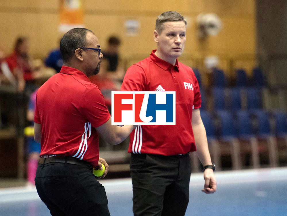 BERLIN - Indoor Hockey World Cup<br /> Kazakhstan - South Africa<br /> foto: Umpires <br /> WORLDSPORTPICS COPYRIGHT FRANK UIJLENBROEK