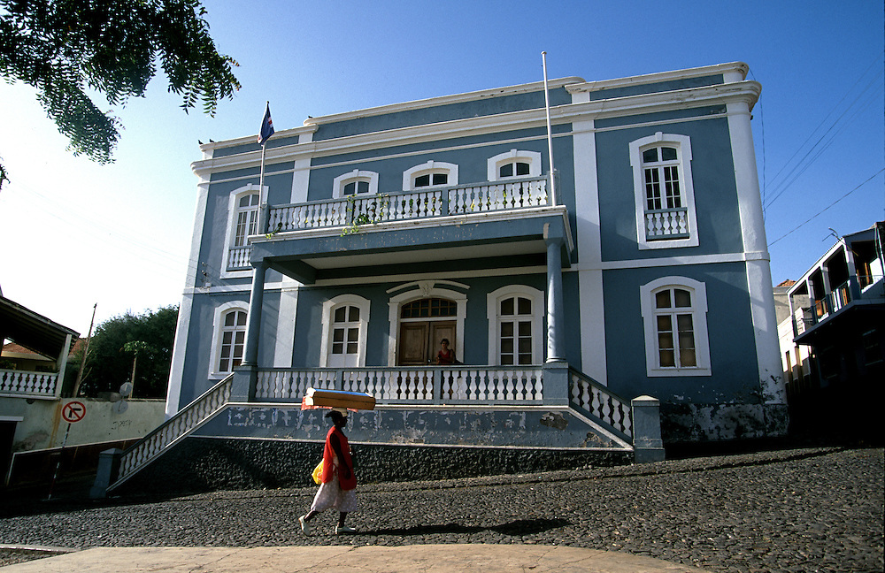 "Sao Filipe Town Hall. The capital of Fogo island is one of the best examples of portuguese colonial architecture, maily its ""sobrado"" houses. The masters used to live on the top flor of these houses while the servants on the ground flor."