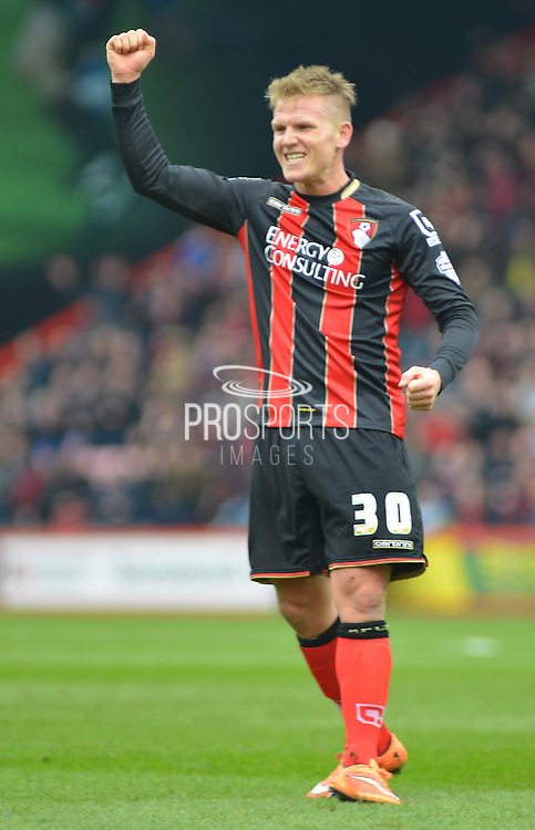 AFC Bournemouth's Matt Ritchie aftercrossing the ball for Bournemouth's second goal during the Sky Bet Championship match between Bournemouth and Blackpool at the Goldsands Stadium, Bournemouth, England on 14 March 2015. Photo by Mark Davies.