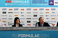 "Press Conference<br /> ""Challenges and opportunities in <br /> urban mobility""<br /> Virginia Raggi, Mayor of Rome, Jean Todt, FIA President.<br /> Roma 13- 04-2018 Palazzo dei Congressi<br /> Roma E  Prix 2018 / Formula E Championship<br /> Foto Antonietta Baldassarre Insidefoto"