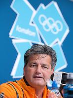 LONDEN - Paul van Ass tijdens de persconferentie, vrijdag na de Olympische hockeywedstrijd tussen de mannen van  Nederland en Nieuw -Zeeland.  ANP KOEN SUYK