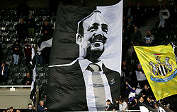 Newcastle United fans hold up a flag with a picture of Newcastle United manager Rafa Benitez on it - Mandatory by-line: Robbie Stephenson/JMP - 20/02/2017 - FOOTBALL - St James Park - Newcastle upon Tyne, England - Newcastle United v Aston Villa - Sky Bet Championship