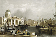 Liverpool: Canning Dock, showing the Custom House, sailing vessels in the basin and warehouses on the dockside. Hand-coloured engraving published 1841.