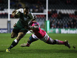 Vereniki Goneva of Leicester Tigers (L) in action - Mandatory byline: Jack Phillips / JMP - 07966386802 - 13/11/15 - RUGBY - Welford Road, Leicester, Leicestershire - Leicester Tigers v Stade Francais - European Rugby Champions Cup Pool 4