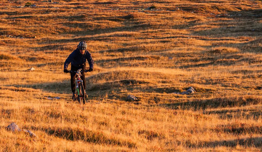 Mountain biker riding the slopes of the Tarcu Mountains Natura2000 site. Southern Carpathians, Munții Ṭarcu, Caraș-Severin, Romania.