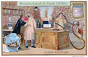 Electric furnace.  Liebig Trade Card c1910. Technology Electricity.