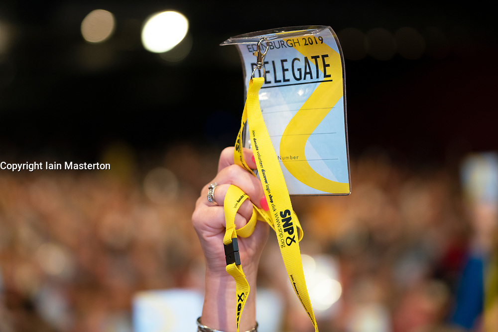 Edinburgh, Scotland, UK. 27 April, 2019. SNP ( Scottish National Party) Spring Conference takes place at the EICC ( Edinburgh International Conference Centre) in Edinburgh. Pictured; Delegate voting during a session on day 1.