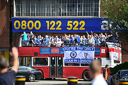 © Licensed to London News Pictures. 27/05/2017. London, UK. Chelsea fans arrive by bus at Wembley stadium ahead of the FA Cup final match between Arsenal FC and Chelsea FC. Security has been increased at venues across the UK, with the military called in to help police, following a terrorist attack at a music concert in Manchester on Monday evening. Photo credit: Ben Cawthra/LNP