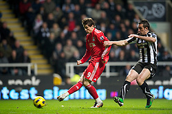 NEWCASTLE, ENGLAND - Saturday, December 11, 2010: Liverpool's Fernando Torres and Newcastle United's Sanchez Jose Enrique during the Premiership match at St James' Park. (Photo by: David Rawcliffe/Propaganda)