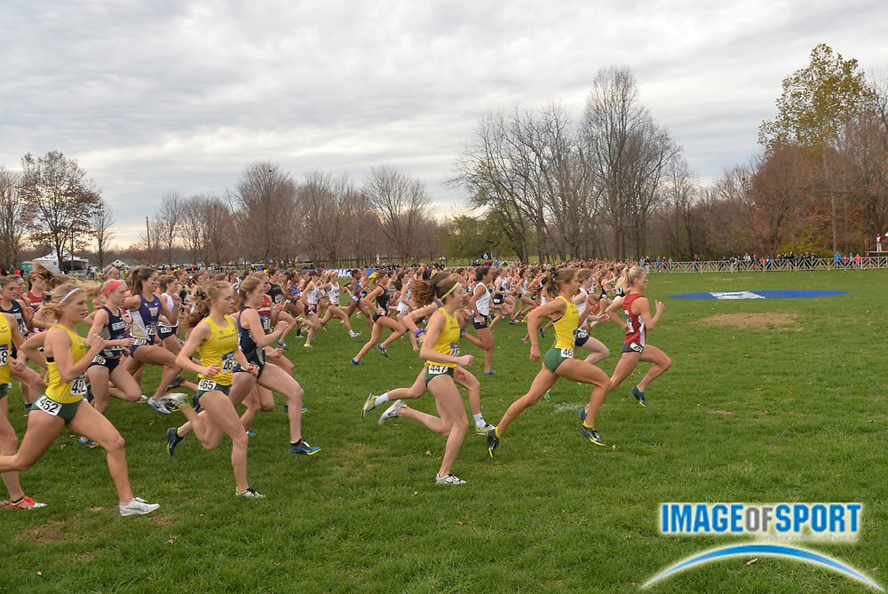 Nov 21, 2015; Louisville, KY, USA; General view of the start of the womens race during the 2015 NCAA cross country championships at Tom Sawyer Park.