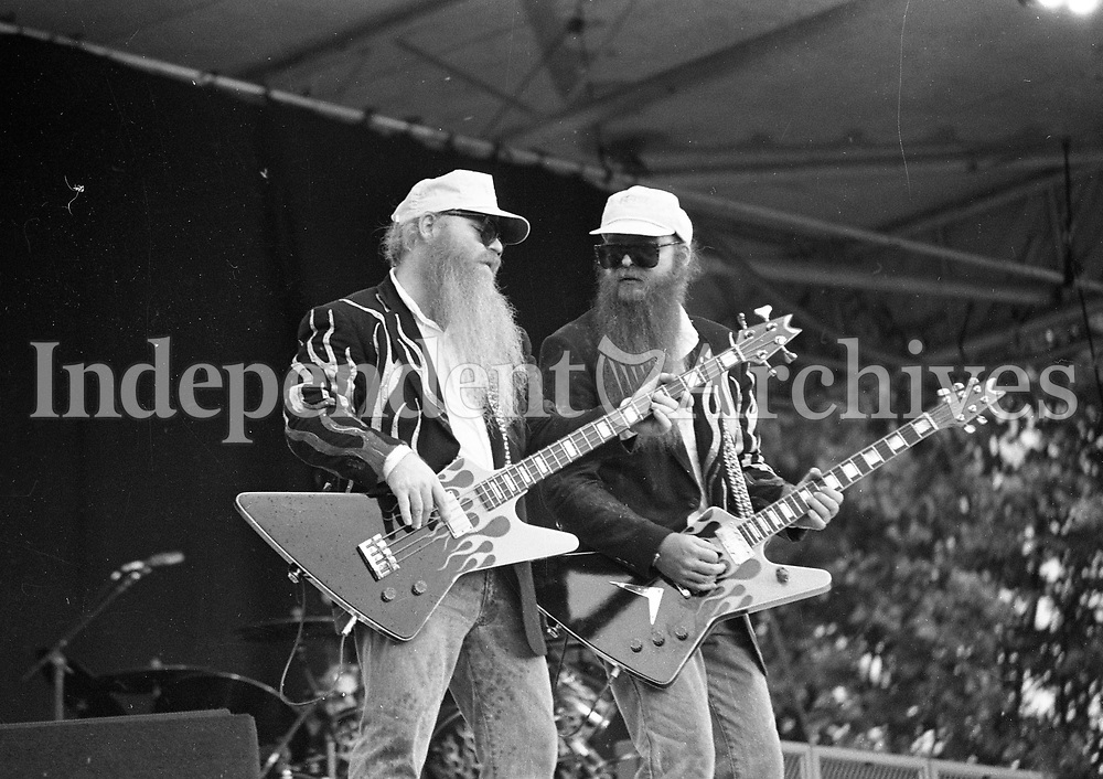 ZZ Top in concert at the RDS, Dublin, Front men Dusty Hill and Frank Gibbons, circa August 1985 (Part of the Independent Newspapers Ireland/NLI Collection).