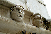 Detail of some of the 72 sculpted faces adorning the Cathedral of Saint Jacob (Sveti Jakova), Sibenik, Croatia. Sometimes also referred to as Cathedral of Saint James.