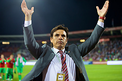 BELGRADE, SERBIA - Sunday, June 11, 2017: Wales' manager Chris Coleman applauds the travelling supporters after the 1-1 draw with Serbia during the 2018 FIFA World Cup Qualifying Group D match between Wales and Serbia at the Red Star Stadium. (Pic by David Rawcliffe/Propaganda)