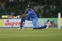 March 6, 2018 - Colombo, Sri Lanka - Indian cricketer Shikhar Dhawan plays a shot during the 1st T20 cricket match of NIDAHAS Trophy between Sri Lanka and India at R Premadasa cricket ground, Colombo, Sri Lanka on Tuesday 6 March 2018  (Credit Image: © Tharaka Basnayaka/NurPhoto via ZUMA Press)