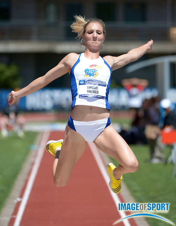 Jun 7, 2013; Eugene, OR, USA; Lindsay Vollmer of Kansas jumps a wind-aided 20-2 1/2 (6.16m) in the heptathlon long jump in the 2013 NCAA Championships at Hayward Field.