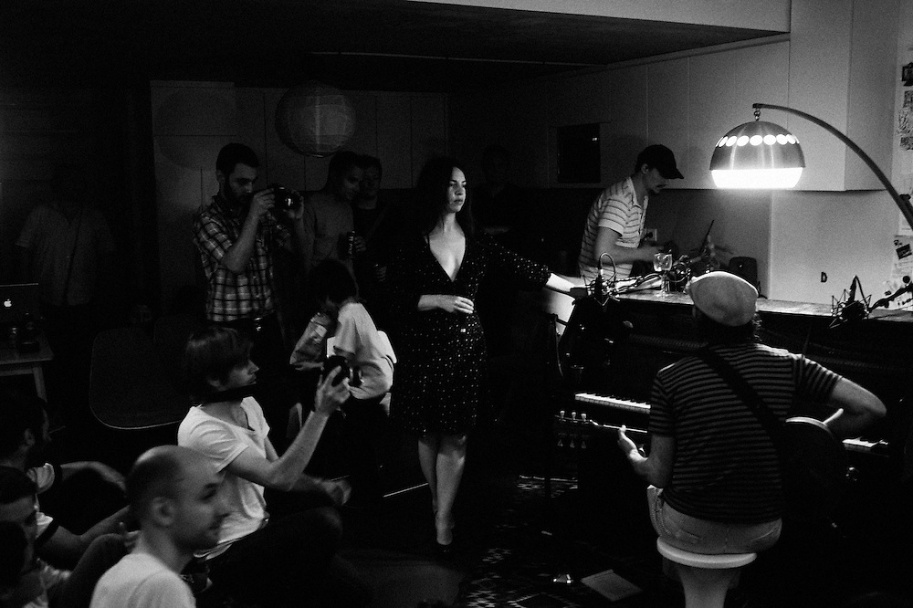 "The New York band Elysian Fields playing at a Blogotheque's ""Soiree de Poche"" (pocket night) in a private appartement in Paris, France. 24 May 2010. Photo: Antoine Doyen"