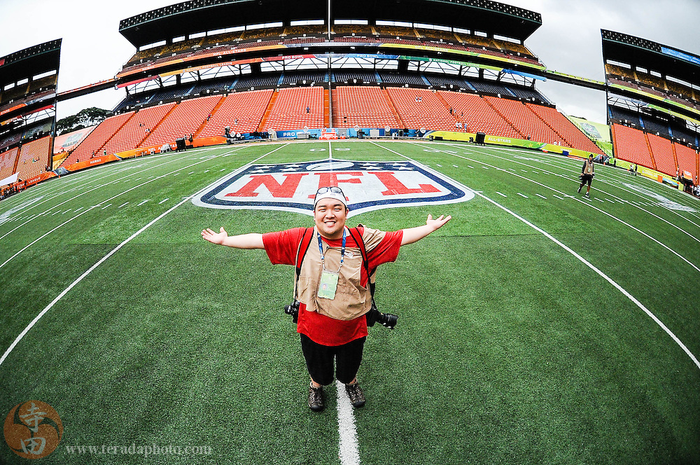 January 26, 2014; Honolulu, HI, USA; USA TODAY Sports photographer Kyle Terada before the 2014 Pro Bowl game at Aloha Stadium. Team Rice defeated Team Sanders 22-21. Credit: Bob Carr-Raiderfans.net