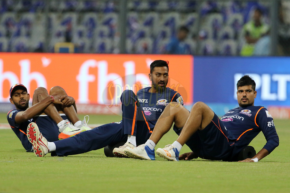 Mumbai Indians players warm up before the start of the match 10 of the Vivo 2017 Indian Premier League between the Mumbai Indians and the Sunrisers Hyderabad held at the Wankhede Stadium in Mumbai, India on the 10th April 2017<br /> <br /> Photo by Vipin Pawar - Sportzpics - IPL