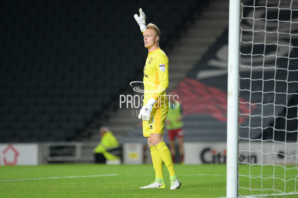 Milton Keynes Dons goalkeeper Wieger Sietsma (13) during the EFL Cup match between Milton Keynes Dons and Swansea City at stadium:mk, Milton Keynes, England on 22 August 2017. Photo by Dennis Goodwin.