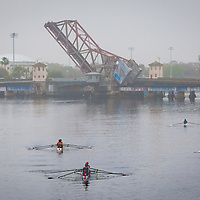 TAMPA, FL  -- The waters are packed with different rowing clubds near the Tampa Bay Rowing Club on the University of Tampa campus near the Cass Street Bridge in Tampa, Florida. (Chip Litherland for Bay Magazine)