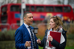 © Licensed to London News Pictures. 08/03/2017. London, UK. Labour MP CHUKA UMUNNA (L) speaking to media outside The House of Parliament in London, on the day that  British chancellor Philip Hammond delivers his 2017 Budget to Parliament. Photo credit: Ben Cawthra/LNP