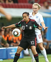 17.07.2010,  Augsburg, GER, FIFA U20 Womens Worldcup, England vs Mexico,  im Bild Corral Charlyn (Mexico Nr.10) und Isobel Christiansen (England Nr.17) , EXPA Pictures © 2010, PhotoCredit: EXPA/ nph/ . Straubmeier+++++ ATTENTION - OUT OF GER +++++
