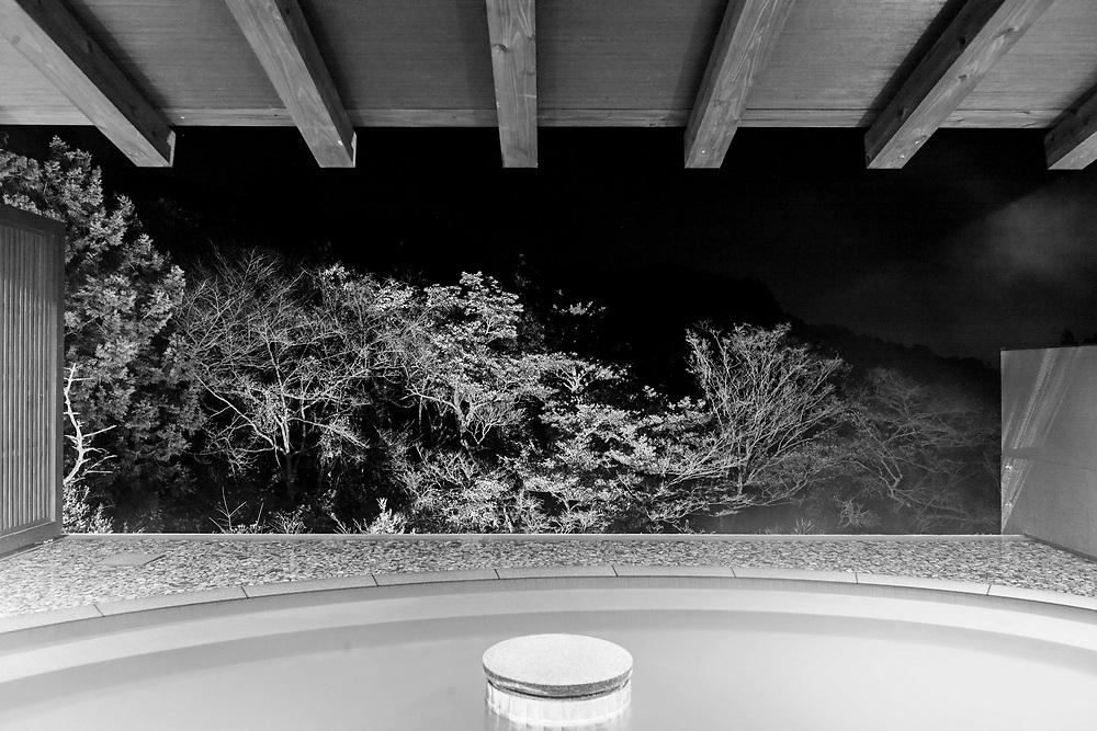 Outdoor onsen at night in Ryokan Fukuda-ya.