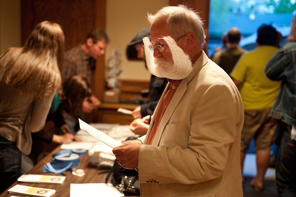 Willi Chevalier, of Sigmaringen,Germany, registers at the on Friday, June 4 during the 2010 Beard Team USA National Beard and Mustache Championships in Bend, Oregon. Chevalier won the freestyle and fan favorite awards on Saturday, June 5.