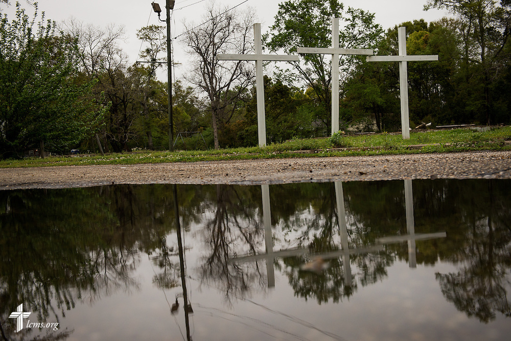 Three crosses highlight the boundary between Prichard and Mobile, Ala., photographed Sunday, April 6, 2014, in Mobile. Much of the neighborhoods surrounding Trinity Lutheran Church have been turned around following years of violent crime. LCMS Communications/Erik M. Lunsford
