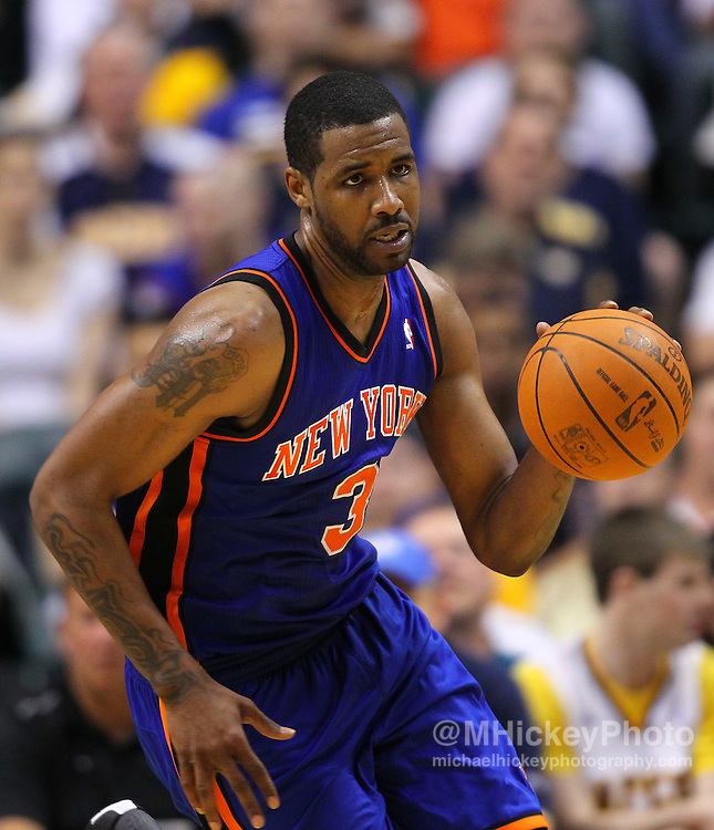 April 10, 2011; Indianapolis, IN, USA; New York Knicks small forward Shawne Williams (3) brings the ball up court against the Indiana Pacers at Conseco Fieldhouse. Mandatory credit: Michael Hickey-US PRESSWIRE