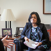 Representative Pramila Jayapal (D-WA, 7) takes her first constituent meeting of the day in her Congressional office, speaking to Mary Fertakis, left, and ---, of the Washington State School Directors Association, on Tuesday, January 31, 2017.  Among other topics of concern, they discussed the potential ramifications of President Trump's immigration and border security policies.  John Boal photo/for The Stranger