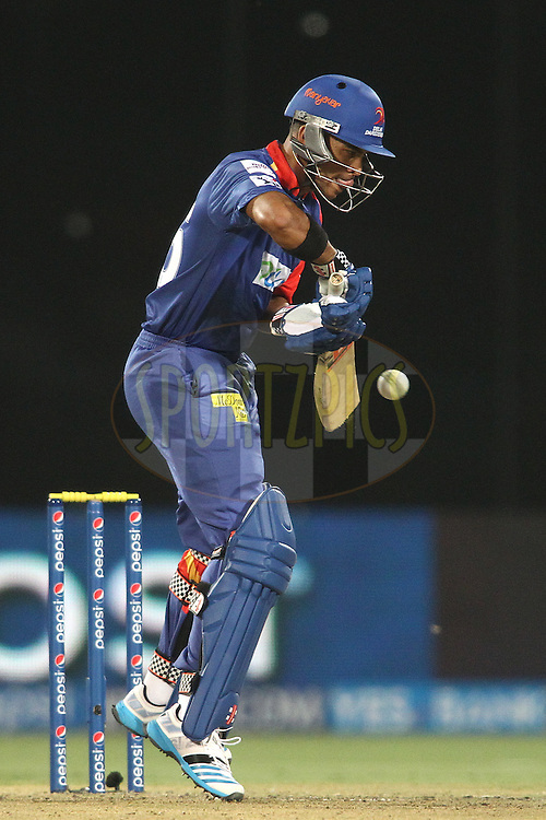 Jean-Paul Duminy of the Delhi Daredevils leaps up to play a delivery during match 23 of the Pepsi Indian Premier League Season 2014 between the Delhi Daredevils and the Rajasthan Royals held at the Feroze Shah Kotla cricket stadium, Delhi, India on the 3rd May  2014<br /> <br /> Photo by Shaun Roy / IPL / SPORTZPICS<br /> <br /> <br /> <br /> Image use subject to terms and conditions which can be found here:  http://sportzpics.photoshelter.com/gallery/Pepsi-IPL-Image-terms-and-conditions/G00004VW1IVJ.gB0/C0000TScjhBM6ikg
