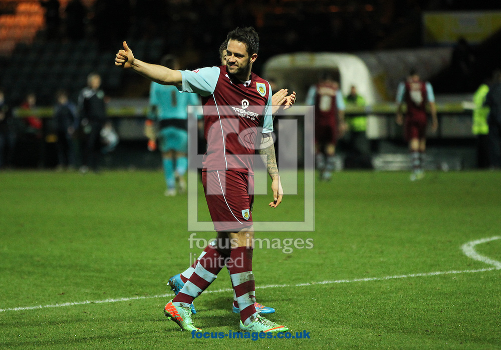 Picture by Tom Smith/Focus Images Ltd 07545141164<br /> 11/01/2014<br /> Danny Ings of Burnley gives a thumbs up to the travelling fans during the Sky Bet Championship match at Huish Park, Yeovil.
