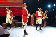 Our Country's Good <br /> by Timberlake Wertenbaker <br /> at the Olivier Theatre, National Theatre, Southbank, London, Great Britain <br /> press photocall <br /> 25th August 2015 <br /> <br /> Jason Hughes as 2nd Lieutenant Ralph Clark<br /> <br /> Paul Kaye as Midshipman Harry Brewer <br /> <br /> Peter Forbes as Major Robbie Ross<br /> <br /> David Mara as Capt Jeremy Campbell <br /> <br /> <br /> <br /> Photograph by Elliott Franks <br /> Image licensed to Elliott Franks Photography Services