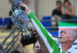 Green Dragons celebrate with the Cup after the final match of 2nd SNL league between NK Olimpija in NK Aluminij, on May 23, 2009, ZAK, Ljubljana, Slovenia. Aluminij won 2:1. NK Olimpija is a Champion of 2nd SNL and thus qualified to 1st Slovenian football league for season 2009/2010. (Photo by Vid Ponikvar / Sportida)