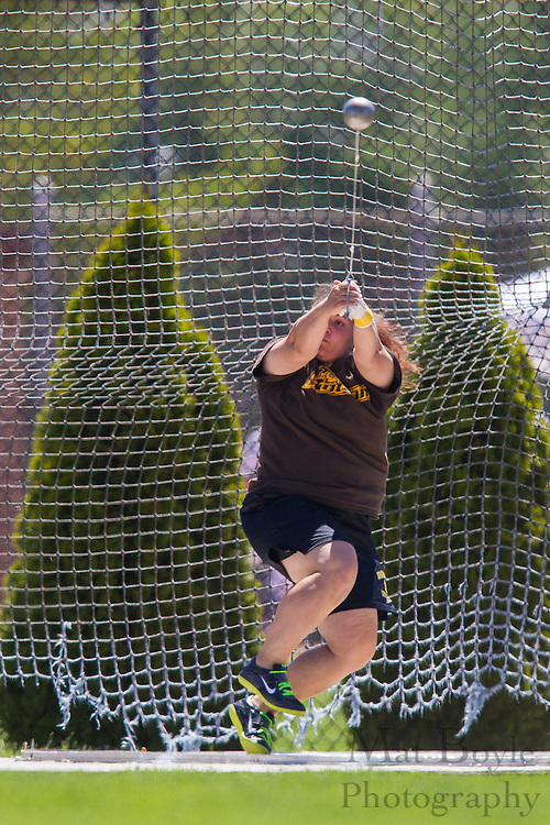 Rowan University's Stephanie Greco competes in the women's hammer throw at the NJAC Track and Field Championships at Richard Wacker Stadium on the campus of  Rowan Univeristy  in Glassboro, NJ on Saturday May 4, 2013. (photo / Mat Boyle)